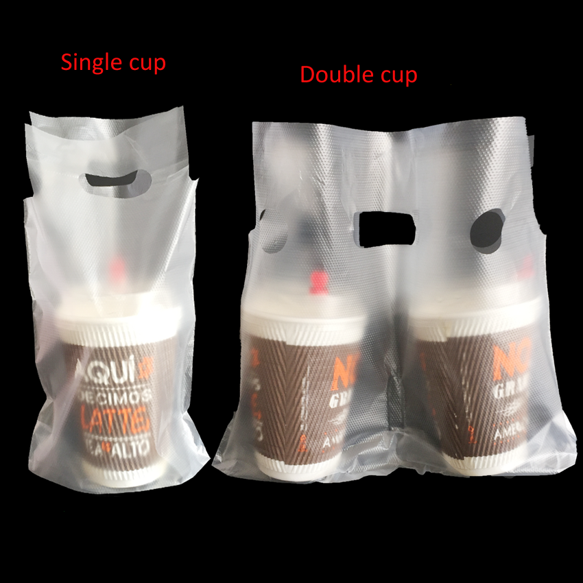300pcs/lot 16/31x24cm single/two cups milk tea coffee cup takeout plastic bags transparant Party Wedding Favour free shipping