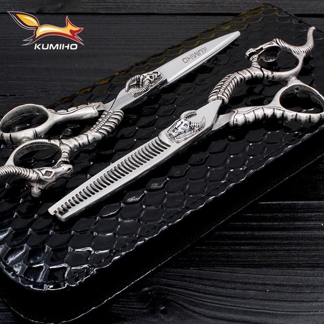 """KUMIHO master series ciseaux à cheveux ensemble ciseaux de coupe de cheveux et ciseaux amincissants avec décoration de tête de taureau ciseaux de coiffeur 6"""""""