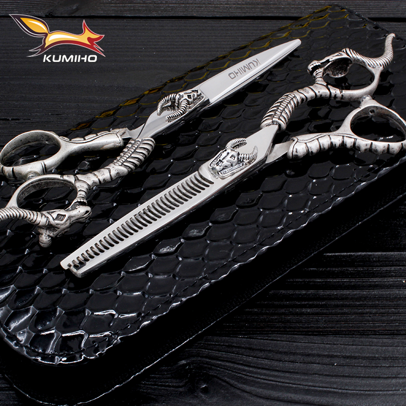 KUMIHO Master Series Hair Scissors Set Hair Cutting Scissors And Thinning Scissors With Bull Head Decoration Barber Shears 6