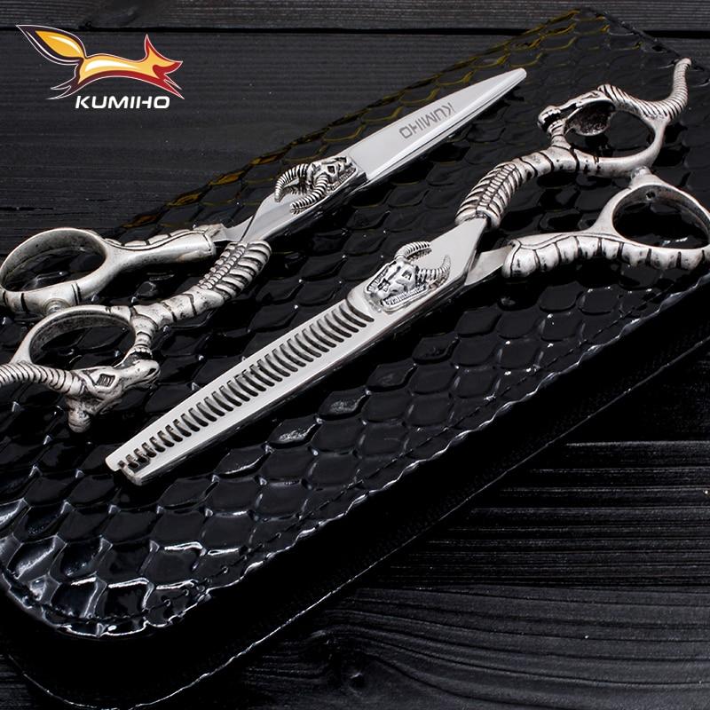 """KUMIHO-mästarserien hårsaxar sätter hårskärning sax och gallring sax med tjurhuvud dekorationsbarberskjuv 6 """""""