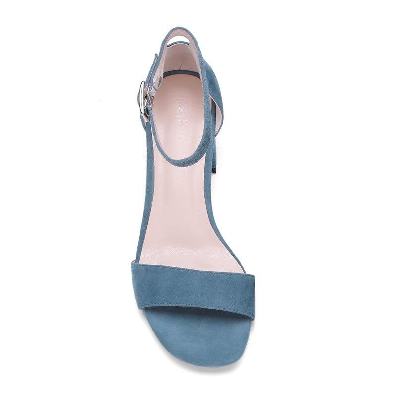 Tobillo Abierto Cuadrado Fuanyuan Mujeres Toe Con Sexy Suede Tacones blue Talones Zapatos Bombas Black Correa Sandalias Mujer Altos 4IqgwYqPAr