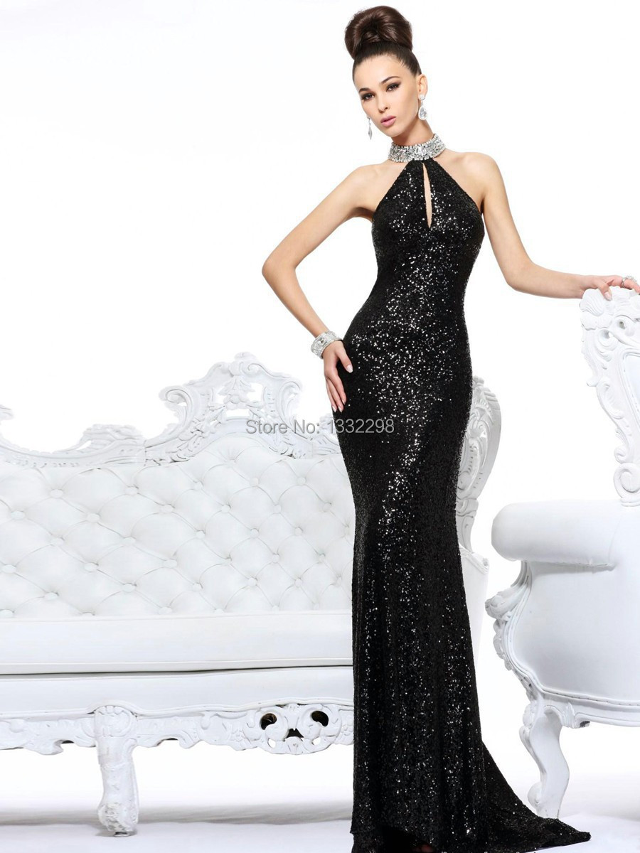 Nueva llegada vestidos de fiesta elegante negro de lentejuelas hecho a mano moda piedra de cristal