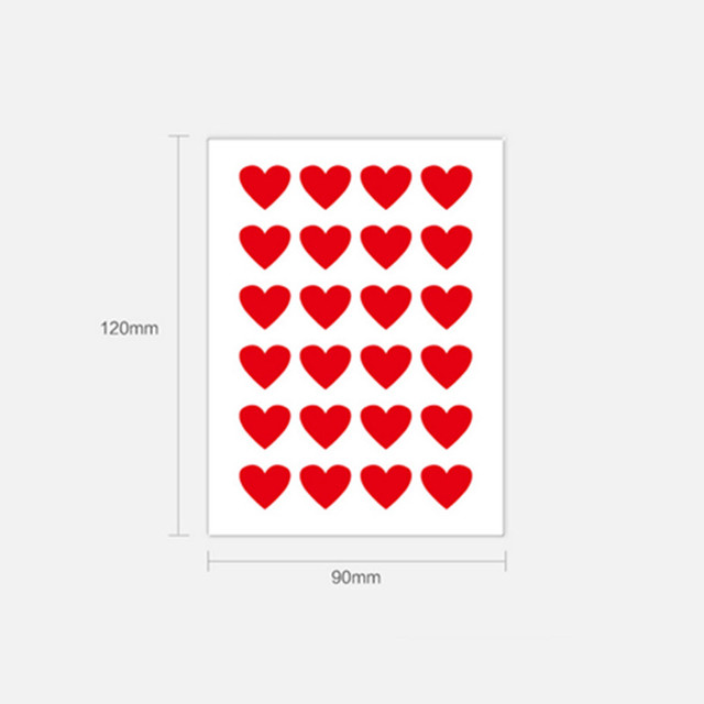 12 sheets stickers 288pcs red hearts labels for cardboard box numbertagsgarment size