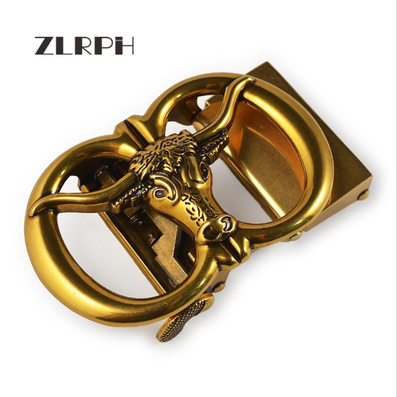 ZLRPH High-grade Retro Alloy Automatic Buckle Antique Do Old Buckle Head Cow Head Three-dimensional Buckle Wholesale
