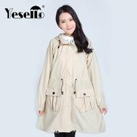 Yesello Lady Hooded Raincoat Women Outdoor Travel Waterproof Riding Cloth Rain Coat For Women Poncho Long Rainwear Rain Jacket