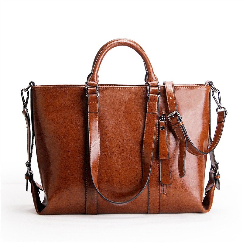 Vintage Women handbag high quality cow split leather tote bag large capacity female shoulder messenger bags