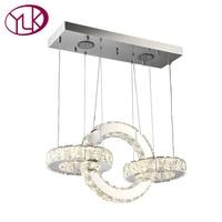 Youlaike Modern LED Chandelier For Dining Room Rectangle Three Lights Hanging Crystal Lighting Fixtures Living Room