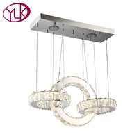 Youlaike Modern LED Chandelier For Dining Room Rectangle Three Lights Hanging Crystal Lighting Fixtures Living Room