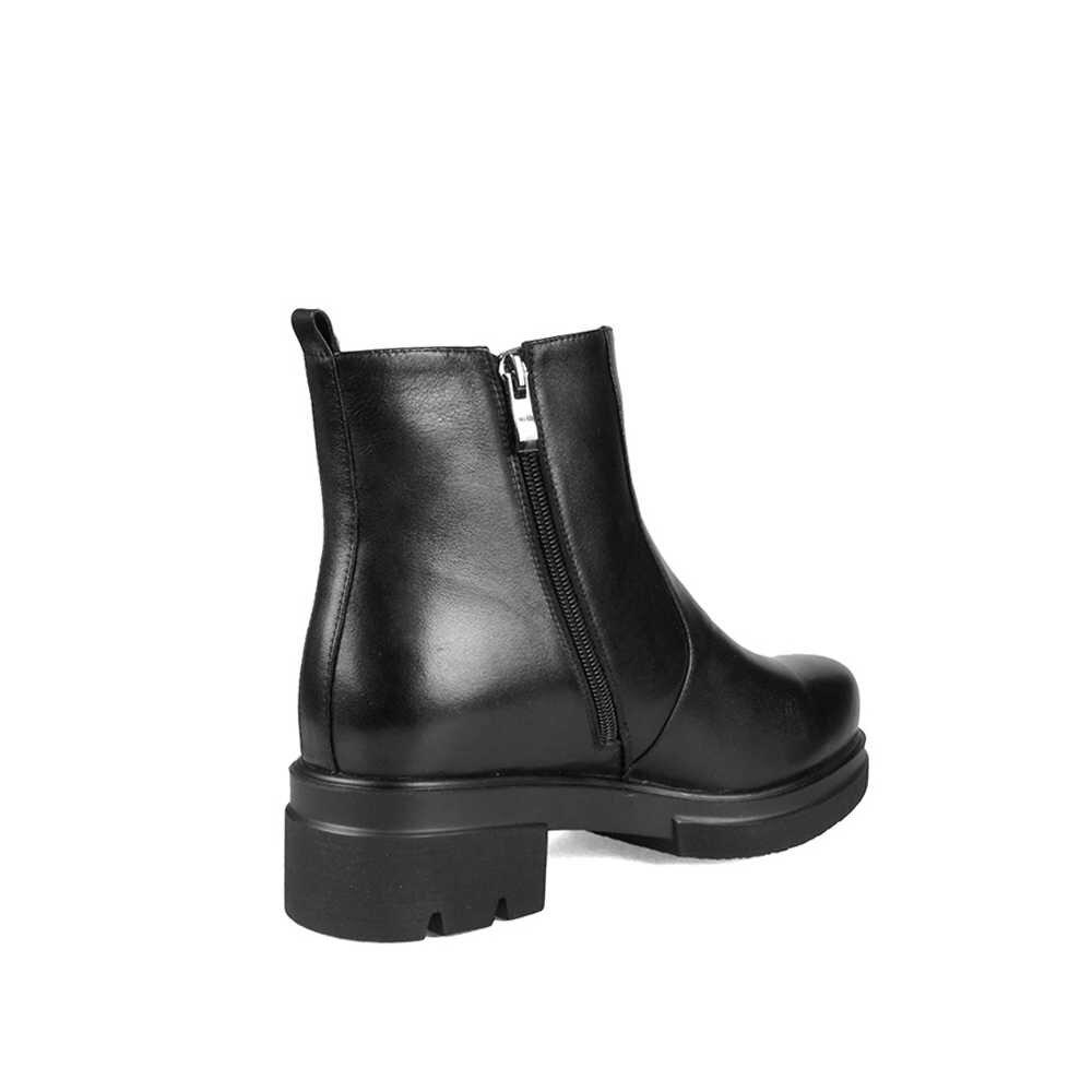 Botas de invierno rusas para mujer botas de tobillo de plataforma plana con cremallera zapatos de cuero genuino de piel de lana dentro de moda negro LID039 MUYISEXI