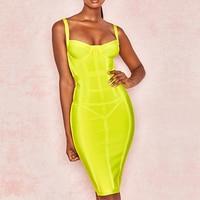 Seamyla 2019 New Bandage Dress Women Sexy Spaghetti Strap Club Bodycon Dress Summer Yellow Celebrity Party Dresses Vestidos
