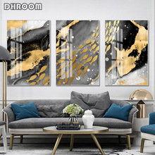 Nordic Abstract Canvas Painting Light Luxury Golden Fish Wall Art Posters Prints Modern Decoration Picture for Living Room