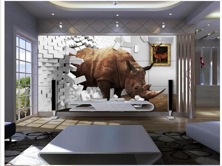 Custom 3d Wallpaper Rhino 3 D TV Setting Wall Paper Creative Space Brick  Wall Decoration In Wallpapers From Home Improvement On Aliexpress.com |  Alibaba ...