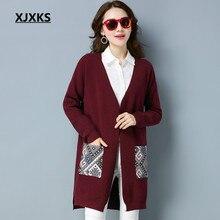 Xjxks señoras Chaquetas suéter 2018 otoño y el invierno s-xxl v-cuello  colorido Pegatinas para uñas bolsillos de las mujeres lar. 2a41d2fb358