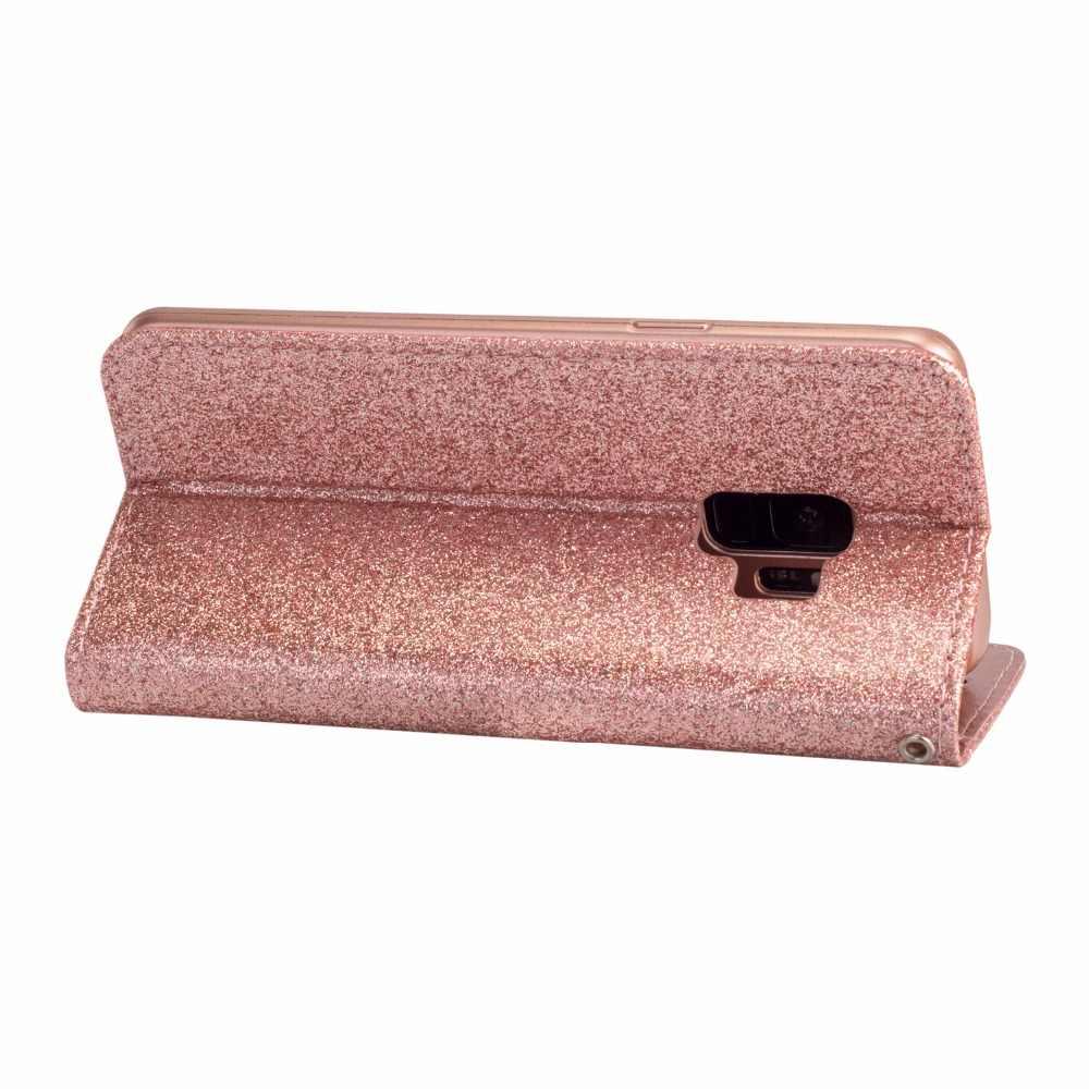 الوجه كوكه غطاء حقيبة لهاتف سامسونج غالاكسي S6 S7 حافة S6Edge S7Edge مع TPU بلينغ بريق بو الجلود الهاتف المحفظة أكياس