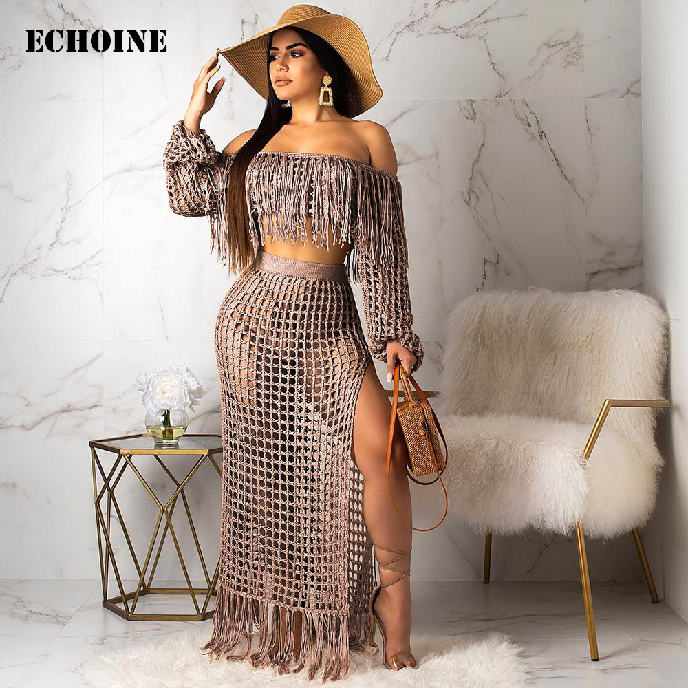 Fringe Tassel Fishnet 2 Piece Set Split Skirt Set Transparent Hollow Out Sexy Club Wear Outfit Off Shoulder Crop Top And Skirt