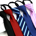 Men Fashion Zipper Tie Stripe Polka Dots Wedding Party Formal Business Necktie   BWTYY0060