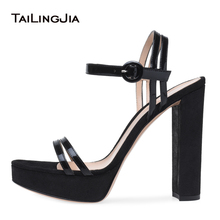 Black Patent Leather Platforms for Women High Heel Sandals with Straps Sexy Dress Heels Ladies Block Heel Summer Shoes Big Size plus size beautiful dress high heels 13cm sexy crystal platforms pole sandals rhinestone straps wedding shoes