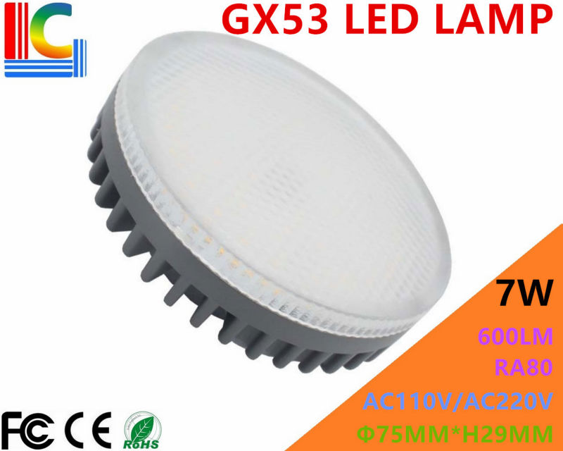 GX53 LED Lamp 7W Downlight Ultra Bright Cabinet light 110V 220V CE RoHS Replace 60W Halogen Lamp for Home Lighting Free Shipping