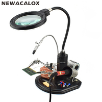 NEWACALOX 2.5X(6D)/4X(12D) 16 SMD LEDs Magnifier Soldering Helping Hand Desktop Magnifying Glass Welding Repair Auxiliary Tool