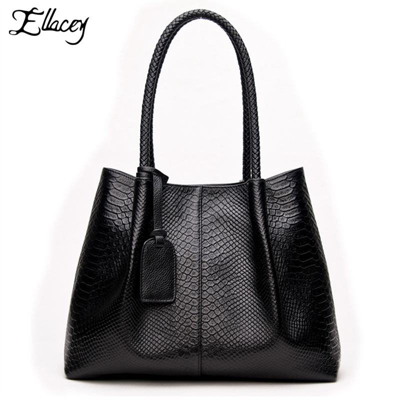 Ellacey 2017 Designer Large Black Leather Tote Bags For School Womens Serpentine Composite Bags Genuine Leather Ladies Hand Bags
