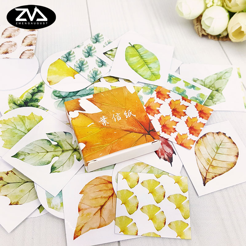40pcs/lot autumn leaves  mini box paper sticker Decoration DIY Scrapbooking Sticker Stationery office kawaii label stickers
