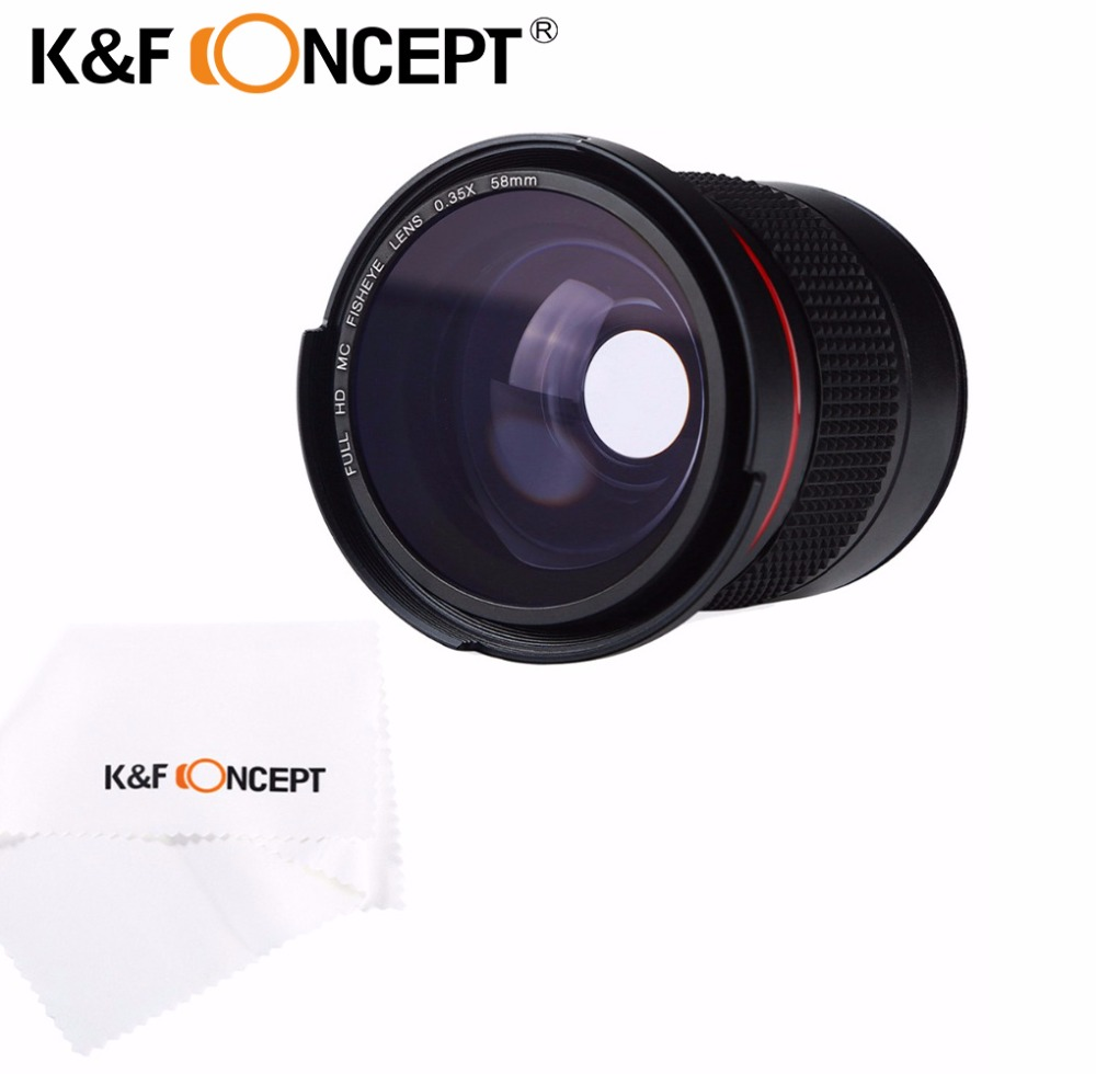лучшая цена K&F CONCEPT 58mm 0.35X Ultra Clear Blue Film Coated Fisheye Fish Eye Lens + Cleaning Cloth for Canon for Nikon Cameras