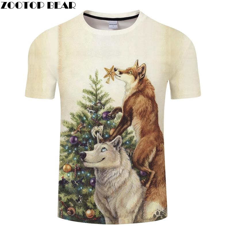 Christmas tree tshirts 3D Wolf t shirt Men Women t-shirt Streatwear Tee Harajuku Top Unisex 6XL Camiseta Drop Ship ZOOTOPBEAR