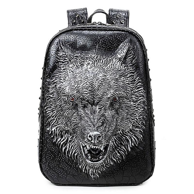 Mode sac à dos hommes sacs à dos femmes sac à dos impression 3D loup sacs d'école pour adolescents sac de voyage de luxe Designer étudiant sac