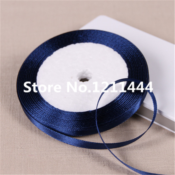38# 6mm Wide Dark Blue 25Yards/Roll Satin Ribbon for Christams Gifts/ Wedding Place /Birthday festival party decoration