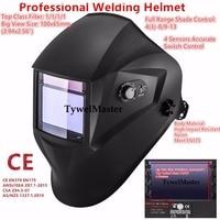Premium Welding Mask Helmet 100 65mm 1111 4 Sensors Filter External Control Solar Auto Darkening Weder
