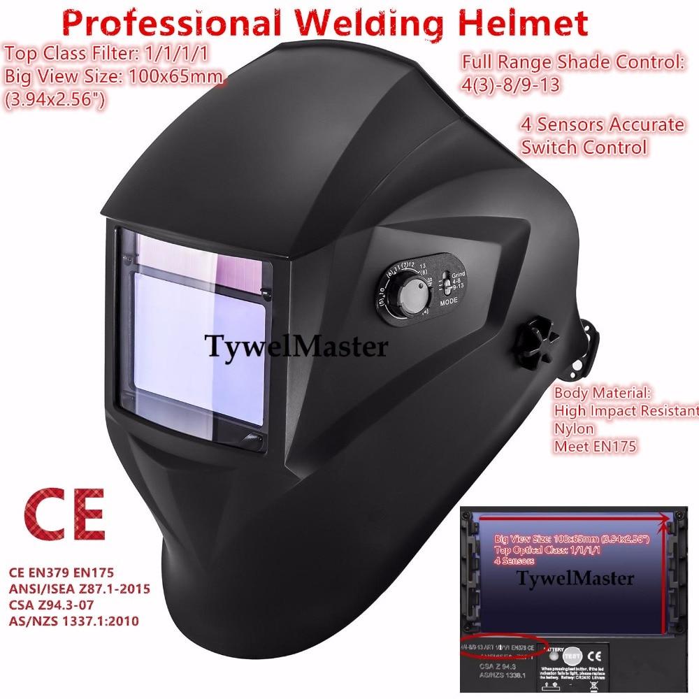 Professional Welding Mask 100x65mm(3.94x2.56) 1111 4 Sensors Filter External Ctl Solar Auto Darkening Welding Helmet 4(3)-13 CE