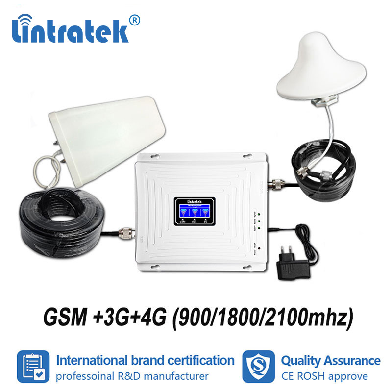 Lintratek Tri Band GSM 900mhz W CDMA 2100 LTE 1800mhz Mobile Signal Booster 2G 3G UMTS
