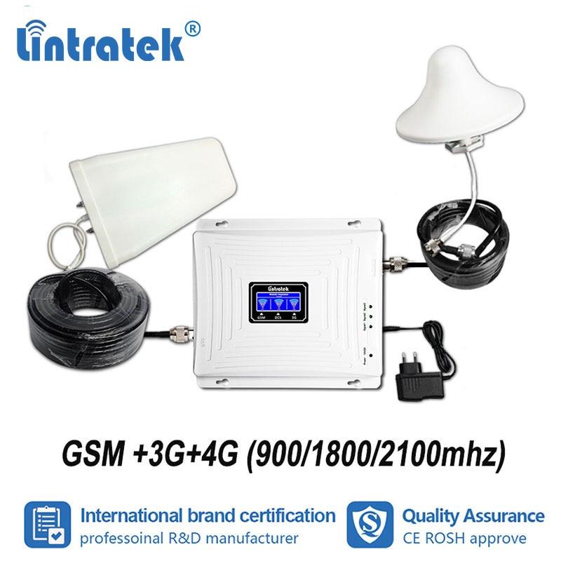 Lintratek Tri bande GSM 900 mhz W-CDMA 2100 LTE 1800 mhz amplificateur de Signal Mobile 2G 3G UMTS 4G répéteur amplificateur cellulaire ensemble s4