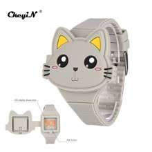 Fashion 3D Cartoon Flap Watches Sports Wristwatch For Children Boys Girls Baby kid Lovely Cat Silicone Watch LED Digital Gift PJ