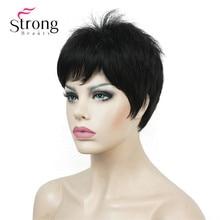 Strongbeauty 매우 짧은 검정 swept bangs 전체 합성 가발 색상 선택