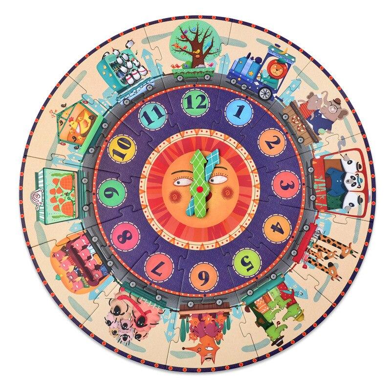25 pièces/ensemble grands jeux de Puzzle papier Puzzle numérique horloge Cognition micerf mon voyage dans le temps pour les enfants