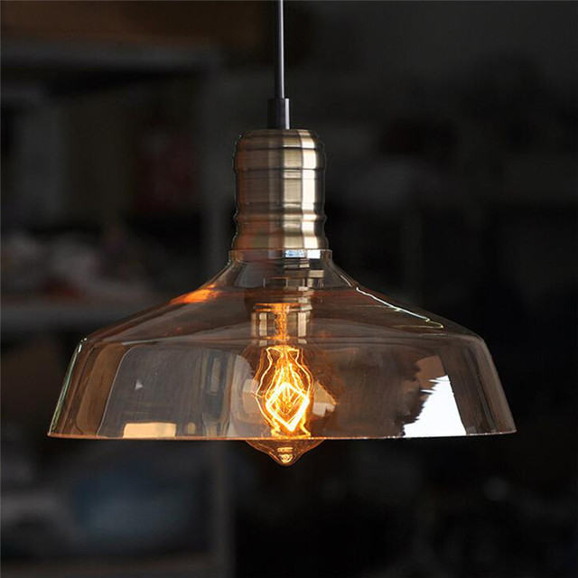 Estilo Retro Vidro Pingente Luzes Lâmpada Do Teto luz Industrial do vintage com Edison Lâmpada E27 40 W 1.5 m cabo AC110V-220V 25x14 cm