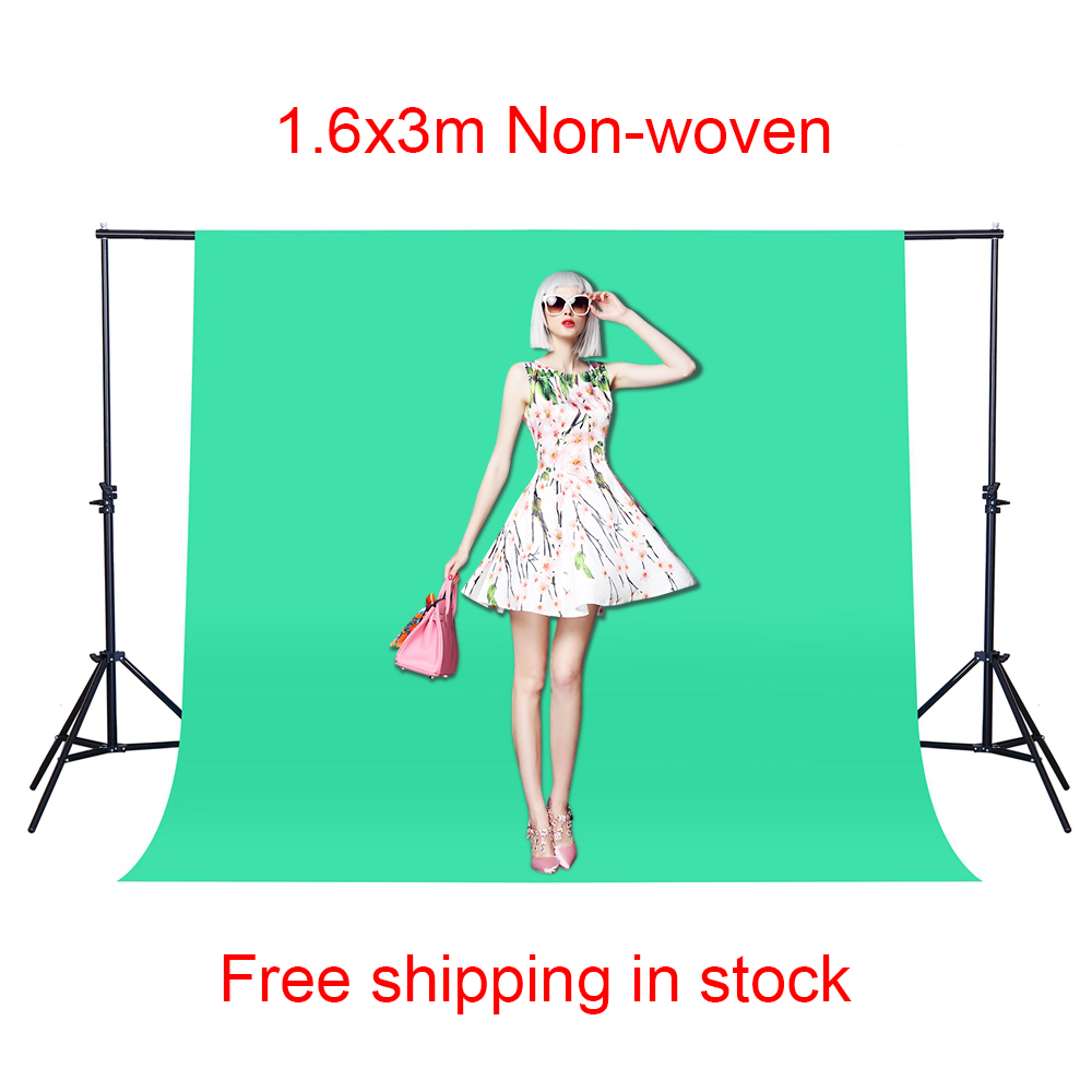 CY Free shipping Photo background 1.6*3M/5 x 10FT Green color Photography Studio Non-woven fabric Backdrop Background Screen