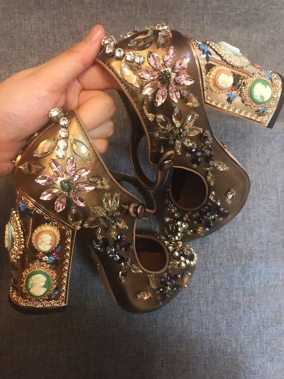 shaduo 171016001 fashion women super beautiful handmade string bead rhinestone genuine leather high heeled shoes, size 34-41
