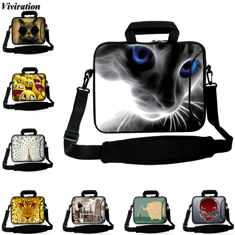 2018 New Arrival Cat Print Notebook Bag 15 13 12 10 17 14 Inch Viviration Messenger Computer Package For Apple Macbook Pro Dell