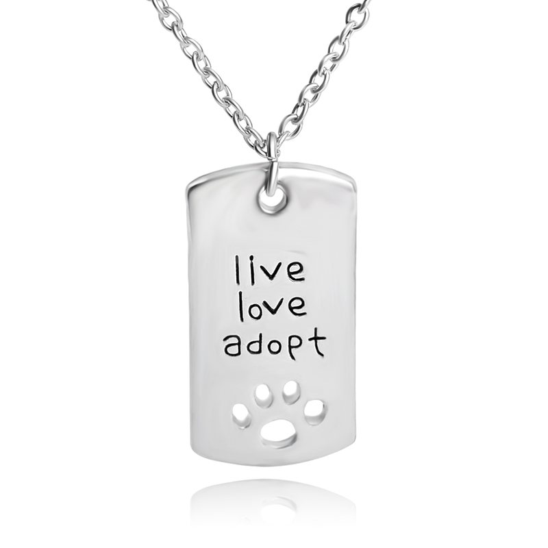 New Fashion Rectangular Dog Tag Pendant Necklace Cat Dogs  live love adopt  Pet Rescue Paw Prints Tag Necklace For Pet Lover ...