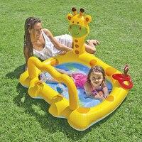 Bebé piscina flotadores de piscinas de natación para niños anillo de asiento flotador de plástico bañera inflable piscina para niños de Dibujos Animados juego de cama jirafa