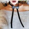 Gótico do punk do vintage preto faux couro bowknot gargantilha colar para as mulheres da moda pescoço colares de jóias meninas