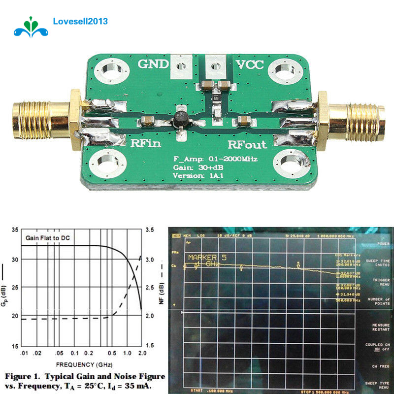 0.1-2000MHz RF Wideband Amplifier Broadband Module Receiver 30dB Low-noise LNA