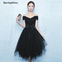 2017 elegancki krótki prom dresses gothic vintage czarny bez ramiączek kobiety formalne bal suknie maskarada tulle tea długość party dress