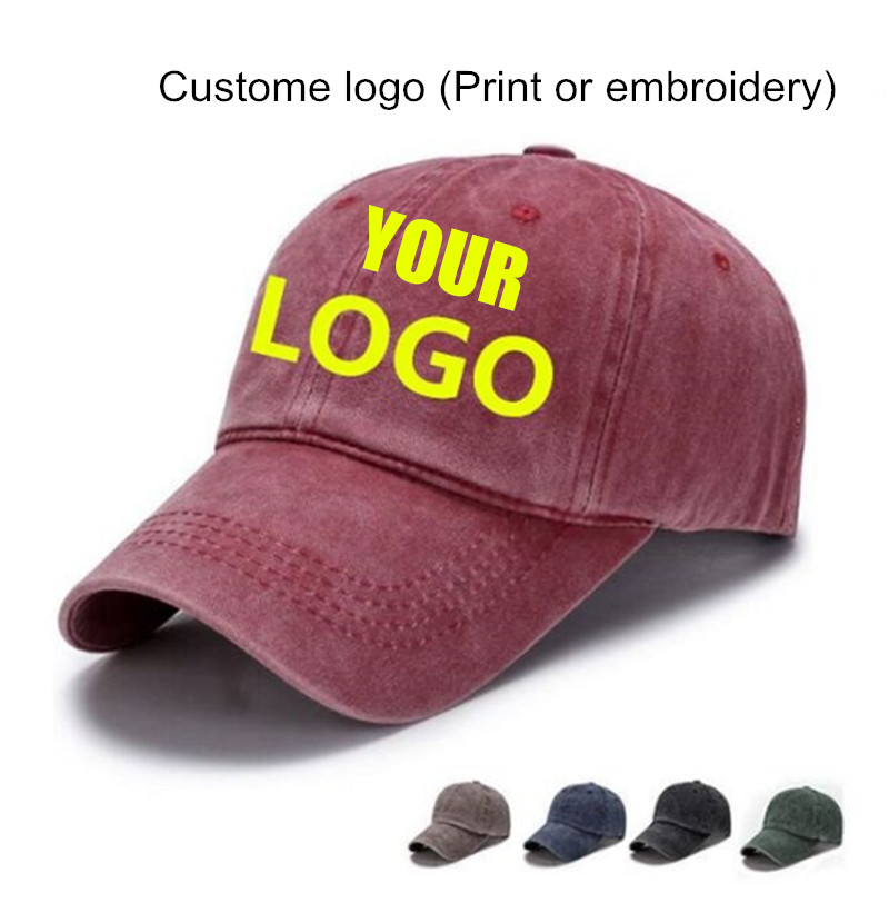 Only 1 Piece DIY Custom Logo Print Washed Denim Made   Cap   Embroidery Snapback Hats Golf Hat Men Women Cotton   Baseball     Caps