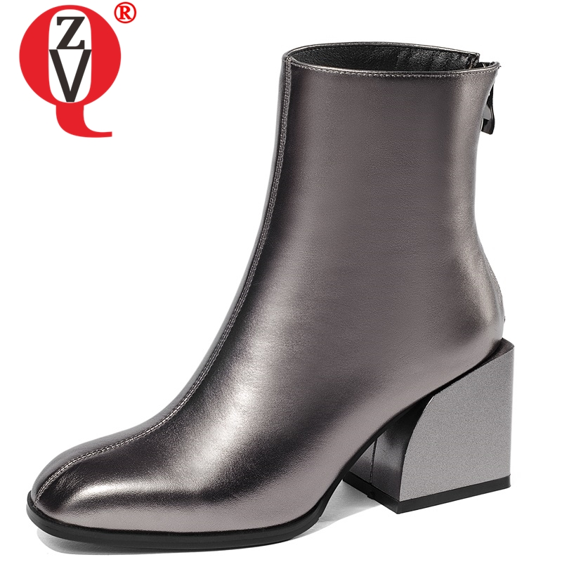 ZVQ 2019 newest popular high quality genuine leather high square heel zipper square toe fashion sexy