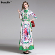 Banulin 2019 Runway Spring Summer Sexy Plaid Floral Print Turn Down Vacation Party Maxi Long Dresses Female Vestdios B8801