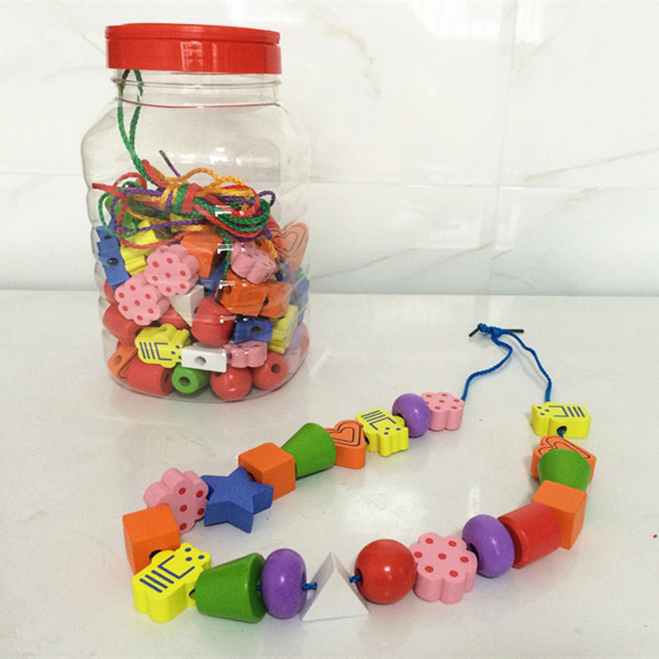 ФОТО New Arrival 120pcs Large Size Multicolor Geometric Shape Beads Baby Toys Barrel Blocks Education Early Learning Wooden Toys Gift