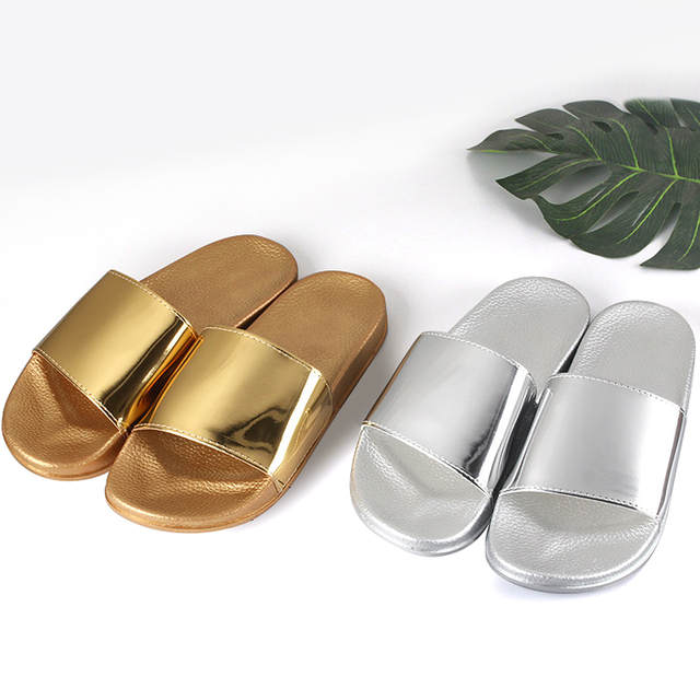 6a90dbf47b316b Women Slides 2019 Fashion Slippers Platform Sandals Summer Bling Beach  Slides Flip Flops Comfortable Flat Shoes